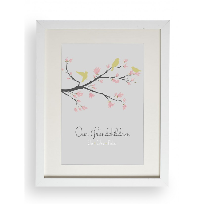 Personalized Family Name Bird Blossom Tree Branch Print Our ...