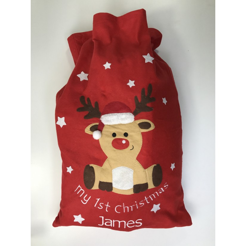 My 1st Christmas Reindeer Embroidered Baby T-Shirt Gift Personalised First Xmas