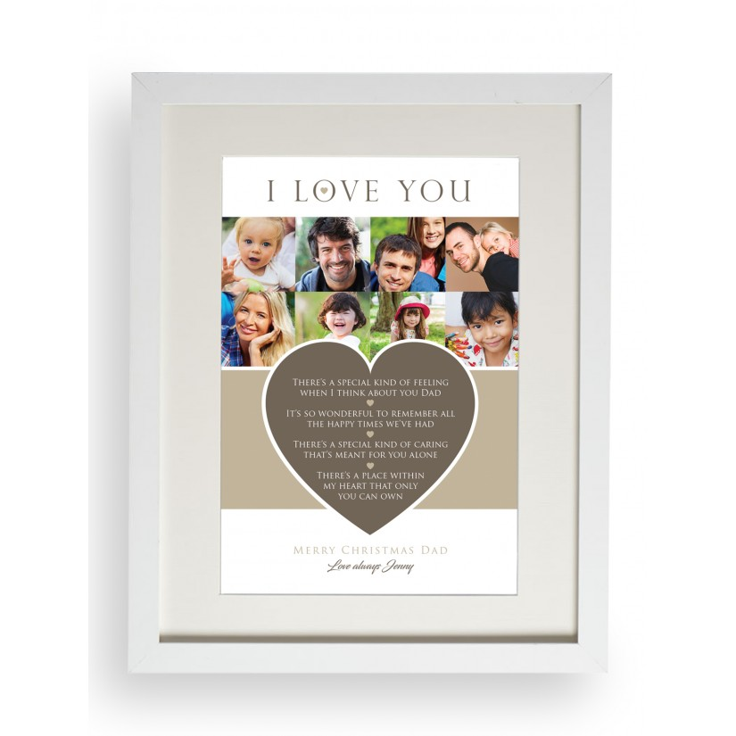 Personalised I Love You Dad Mum Christmas Photo Collage Heart Print