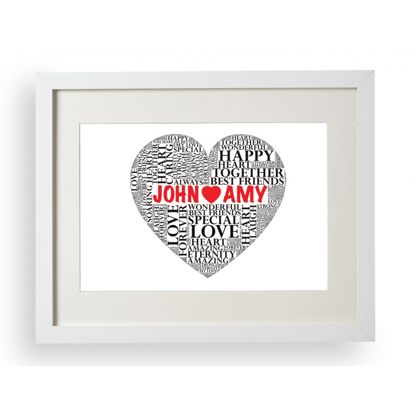 Personalised Heart Silhouette Word Art Cloud Print Gift