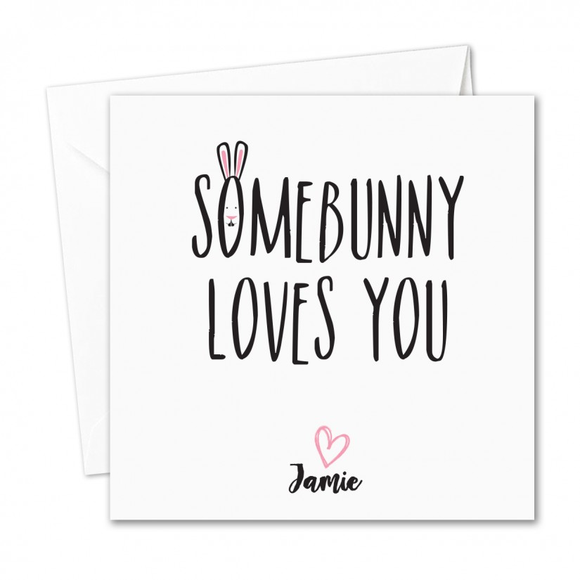 personalised handmade easter card funny somebunny loves you humour. Black Bedroom Furniture Sets. Home Design Ideas