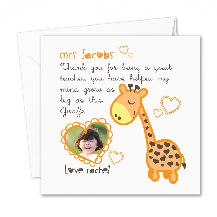 Personalised photo teacher nursery thank you card giraffe mind grows please enter your information then click the save information button before adding to your shopping cart m4hsunfo Images
