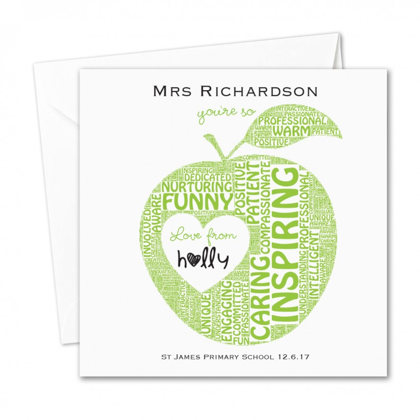 personalised teacher nursery thank you card apple word art