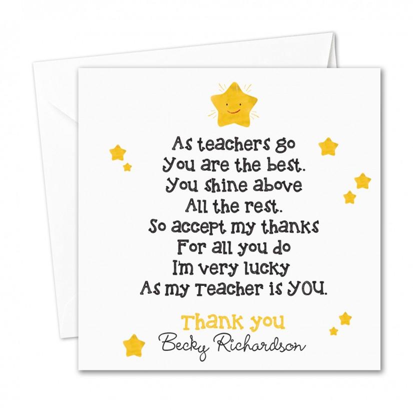 personalised teacher nursery thank you card shining stars