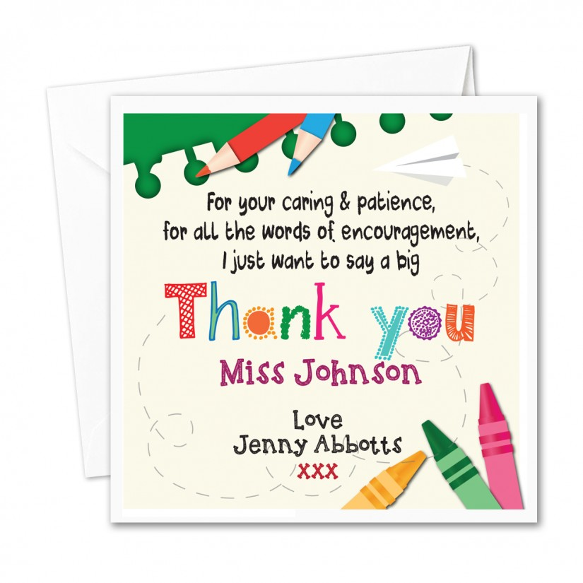 Personalised Teacher/ Nursery Thank You Card Stationary Caring