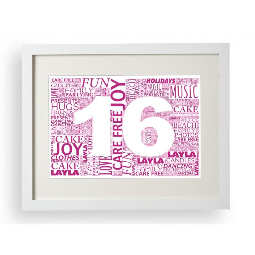 Personalised Word Art Print Frame Happy Birthday Retirement Anniversary